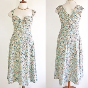 Bettie Page Floral Dress Fit Flare Rockabilly